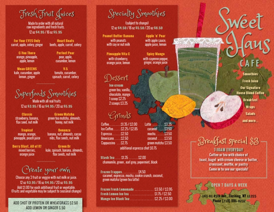 Illustration and menu design for Sweet Haus