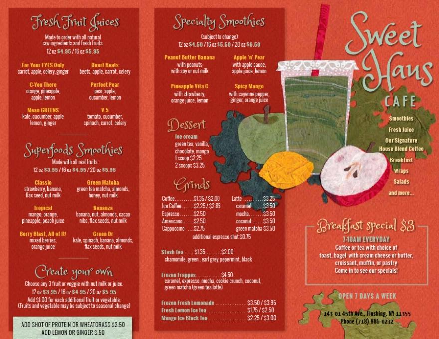 Illustration and menu design for Sweet Haus
