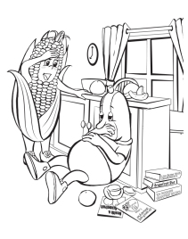 Importance of balanced diet. Line drawings for coloring book illustration