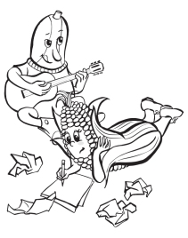 Line drawings for coloring book illustration