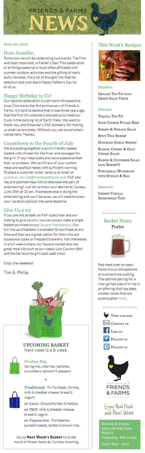 Redesign layout and spot illustrations for Friends & Farms newsletter