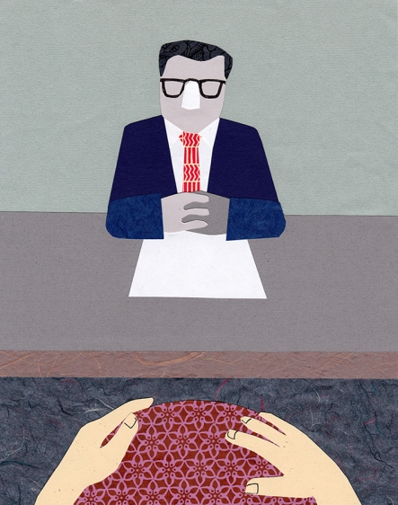 Editorial illustration for FS, using paper collage