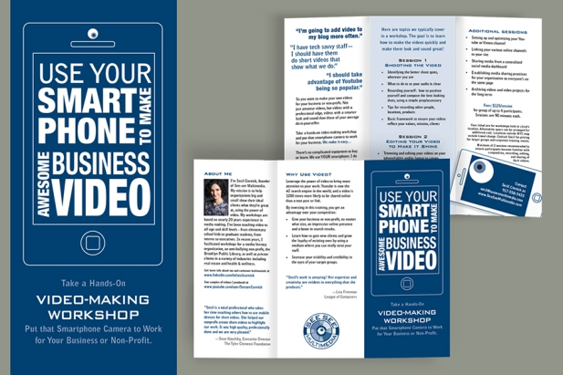 Brochure design and illustration. I had a bit of fun playing with that simple eyeball and the simple rectangle of the phone.