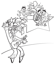 The Beetles and Elvis Parsley. Line drawings for coloring book illustration
