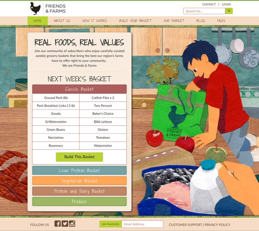 Home page illustration and web design