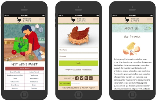 Illustration and web design for mobile