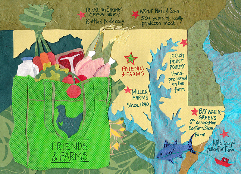 Illustration for front of marketing postcard