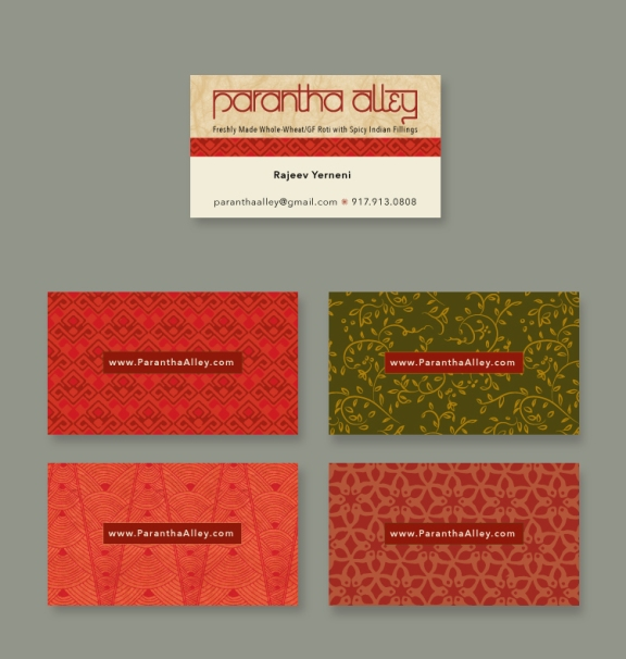 Business card, using patterns from the tent