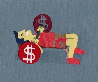Editorial illustration for Financial Samurai, using paper collage