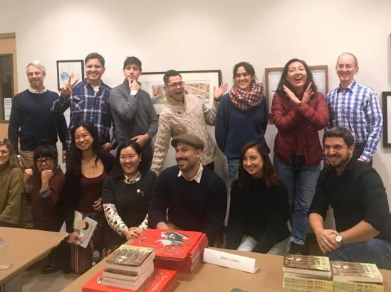 Back row: Brian Floca, John Parra, Tim Miller, Mike Curato, Cecilia Ruiz, Mika Song, Paul O. Zelinsky. Front row: Stephanie Graegin, Isabel Roxas, Colleen Kong-Savage, Aram Kim, Gilbert Ford, Victoria Cossack, David Ezra Stein.