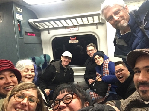 How often does a fledgling kidlit illustrator get to commute back to the city with this many kidlit stars ALL in the SAME TRAIN CAR??? Swoon!